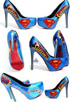 Superman-Heels mit Swarovski-Kristallen und Glitter