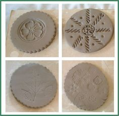Stamping with pasta into clay to add texture-great idea and cheap, too!