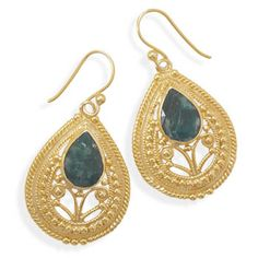 Ornate 14 Karat Gold Plated Rough-Cut Emerald Earrings,VENDOR CODE:  AFF9965 http://samanthassilver.com/