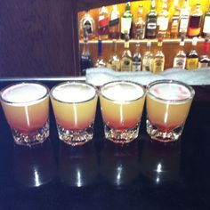 """Fruit Loop Shooters with 3 olives vodka """"loopy"""" :)"""