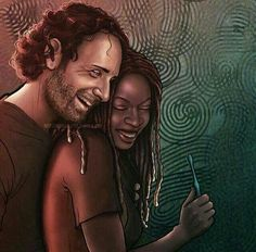 Richonne ~ Rick and Michonne ~ The Walking Dead. Walking Dead Fan Art, Walking Dead Tv Show, Walking Dead Series, Rick And Michonne, Rick Grimes, Bwwm, Stuff And Thangs, African American Art, Couple Art