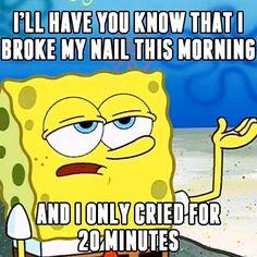 That's pretty good Spongebob, we've cried for longer.  #inm #inmnails #notd #spongebob #lol #tgif #funny #joke