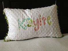 Personalized Pillow Cover w/ Down Pillow by HugABugShop on Etsy, $35.00