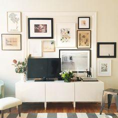 gallery wall surrounding tv