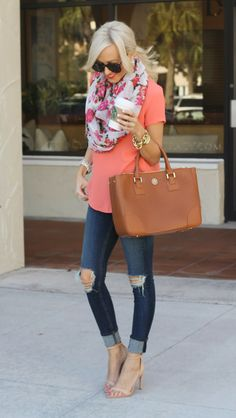I have that shirt but in teal, find a floral infiniti scarf! So my look but with pumps instead