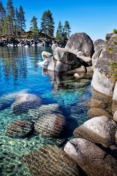 Tahoe Rocks at Sand Harbor on the Northeast end of the lake, the crown jewel of the Lake Tahoe, Nevada State Park.  It has crystal clear water,  sandy beaches and lots of boulders.