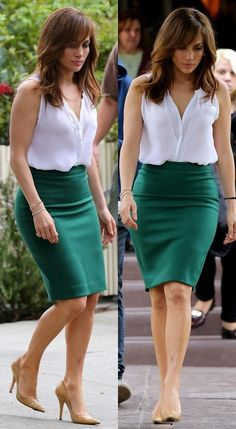 """Jennifer Lopez- """"The Boy Next Door"""" Edgy Work Outfits, Spring Work Outfits, Casual Dress Outfits, Summer Dress Outfits, Office Outfits, Classy Outfits, Skirt Outfits, Women's Fashion Dresses, Skirt Fashion"""