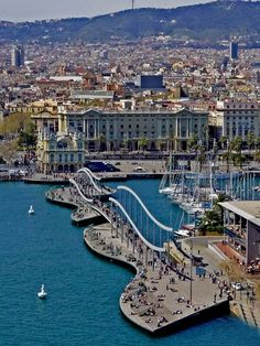 La Rambla del Mar in the Port Vell of Barcelona, Spain