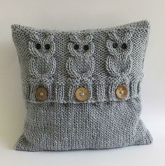 3 Wise Owls Cushion Cover Knitting pattern by The Lonely Sea - Heather C - Cushions Knitted Cushion Covers, Cushion Cover Pattern, Knitted Cushions, Knitted Cushion Pattern, Chunky Knitting Patterns, Arm Knitting, Owl Cushion, Sewing Patterns, Crochet Patterns