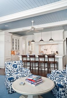 "Ceiling Paint Color: ""Cowgirl Blue #VM137 by Ralph Lauren Paint"" (Reduced by 50%)."