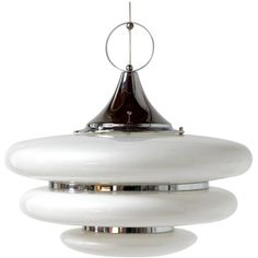 Large Italian Pendant Lamp in White Lucite and Chrome, 1970s ($955) ❤ liked on Polyvore featuring home, lighting, ceiling lights, white lamps, white pendant light, chrome lamp, white lights and chrome pendant light