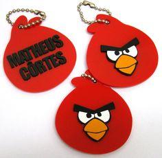 chaveiro angry birds personalizado com nome.