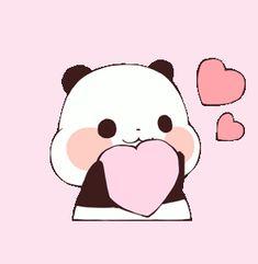 Panda Kawaii, Kawaii Chibi, Cute Chibi, Panda Wallpapers, Cute Cartoon Wallpapers, Kawaii Drawings, Cute Drawings, Gifs, Cartoon Heart