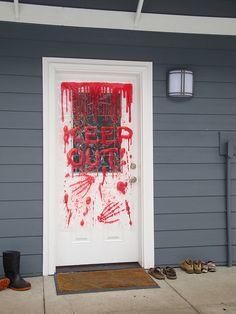 diy bloody halloween plastic door cover - Homemade Halloween Door Decorations
