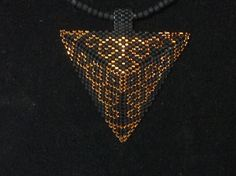 black and Brown Scroll Peyote Triangle Choker by DoubleACreations