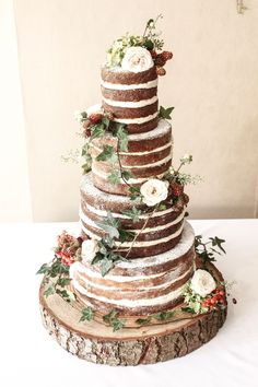 Naked Berry and Ivy Wedding Cake