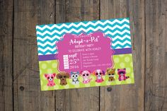 Beanie Boo Birthday Invitation - Girl Birthday Party, Adopt-a-Pet Party…