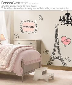 Wall Decal - Large Vinyl Art Sticker - Paris, France - Eiffel Tower - Name Personalization monogram - Fleur de Lis - Girls Teens - Chic via Etsy