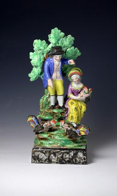 Antique Staffordshire pearlware pottery figure group with bocage early 19th cen...