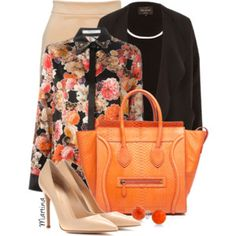 Floral blouse & one color pencil skirt