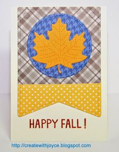 09 16 2014; Two (almost) identical cards; Lawn Fawn Sweater Weather paper, Stitched leaves, Stitched party banners, Sweater Weather stamp set