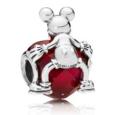 This adorable piece depicts Mickey holding his heart in his hands. The combination of Mickey's cuteness and the vibrant fuchsia rose heart-shaped stone makes this a design for the true Disney aficionado. Disney Pandora Bracelet, Pandora Leather Bracelet, Pandora Bracelet Charms, Silver Charm Bracelet, Disney Jewelry, Pandora Jewelry, Charm Jewelry, Mickey Love, Disney Mickey