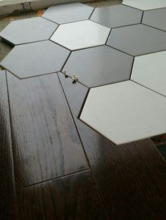 My kitchen floor install I used a hexagonal tile and made my hardwood blend into it. Floor Design, Tile Design, House Design, Wooden Flooring, Kitchen Flooring, Tile Flooring, Floors, Kitchen Interior, Interior And Exterior