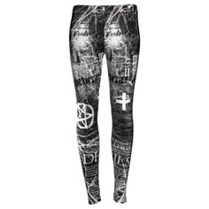Disturbia Gothic Occult Leggings ❤ liked on Polyvore featuring pants, leggings, bottoms, jeans, black trousers, disturbia, white pants, goth pants y black goth pants