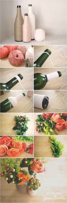 Reuse wine bottles for a flower vase. Try wrapping them in string or yarn for a unique look. Add flowers - perfect centerpiece for any occasion.