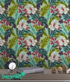 Exotic Flower Pattern Wallpaper Removable Wallpaper by TropicWall Tropical Wallpaper, Flower Wallpaper, Pattern Wallpaper, Exotic Flowers, Amazing Flowers, Purple Bouquets, Paper Flowers Diy, Flower Bouquet Wedding, Peel And Stick Wallpaper