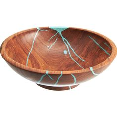 Treestump Woodcrafts:carved salad bowl with turquoise inlay