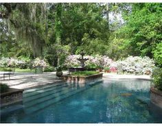 622 S America St, Covington, LA 70433 Outdoor Pool in a lovely south Louisiana landscape (home in Covington, LA) Backyard Pool Landscaping, Ponds Backyard, Landscaping Ideas, Southern Landscaping, Acreage Landscaping, Luxury Landscaping, Swimming Pools Backyard, Landscaping Company, Outdoor Ponds