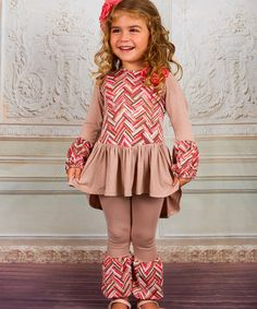 Look at this #zulilyfind! Taupe & Pink Cross-Back Boho Top & Leggings - Toddler & Girls #zulilyfinds