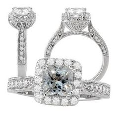 18k White Gold Diamond Engagement Ring Semi-Mount With Diamond Halo And Milgrain Beading by Michelle Rahm