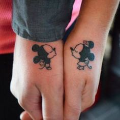 Here are Tiny Couples Matching Tattoos Ideas for every tattoos lover couple. Please check and get ideas about having matching tattoos with your partner. You can express your feelings about these tattoos in comments below. Matching Disney Tattoos, Disney Couple Tattoos, Couple Tattoos Love, Disney Couples, Married Couple Tattoos, Couple Tattoo Ideas, Walt Disney, Couple Ideas, Mickey Tattoo