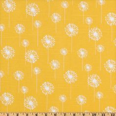 Premier Prints Small Dandelion Slub Yellow/White from @fabricdotcom  Screen printed on cotton slub duck (slub cloth has a linen appearance); this versatile medium weight fabric is perfect for window accents (draperies, valances, curtains and swags), accent pillows, duvet covers, upholstery and other home decor accents. Create handbags, tote bags, aprons and more. *Use cold water and mild detergent (Woolite). Drying is NOT recommended - Air Dry Only - Do not Dry Clean. Colors include white on…