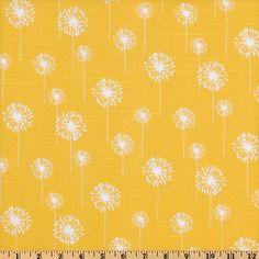 Premier Prints Small Dandelion Slub White/Yellow - Discount Designer Fabric - Fabric.com