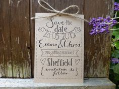 Hand drawn Save the Date card  Wedding  kraft card  by PaperFudge, £1.50