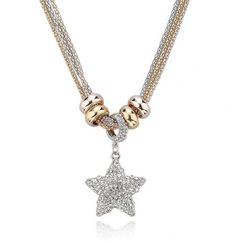 Wilma - Rhinestone Gold Silver Long Chain Necklace