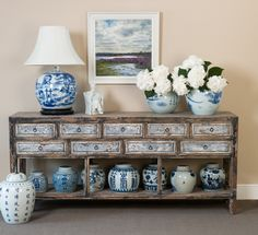 This Chinese pine shabby chic storage unit would fit in to a country style interior.
