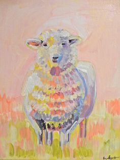 Sarah the Lamb, 11 x 14 – Evelyn Henson Sheep Nursery, Nursery Art, Nursery Paintings, Animal Paintings, Small Projects Ideas, Knitting Room, Evelyn Henson, Acrylic Painting Inspiration, Sheep Art
