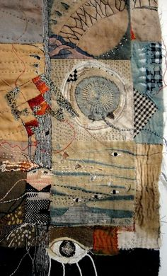 spirit cloth Jude Hill – the artist cut in half a piece of her art. I don't … spirit cloth Jude Hill – the artist cut in half a piece of her art. Textile Fiber Art, Textile Artists, Crazy Quilting, Fabric Art, Fabric Crafts, Boro Stitching, Hand Stitching, Art Du Fil, Creative Textiles