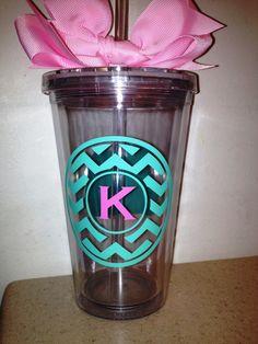 Bridesmaid gift? Personalized Chevron Monogram Tumbler with by SweetSerendipityShop, $13.00