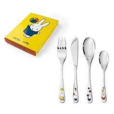 Couverts enfant PremierCadeau Lot 4 couverts enfant lapin Miffy en couleur (personnalisé) sur PremierCadeau.com