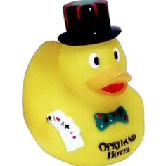 Casino duck...Weighted casino duck toy with hat, tie and cards in hand. Entertaining ducks.