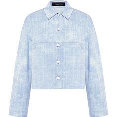 Thakoon - Cropped Denim Jacket ($1,290) ❤ liked on Polyvore featuring outerwear, jackets, cropped denim jacket, jean jacket, thakoon, cropped jean jacket and blue jackets