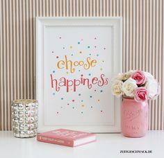 "Typo Poster // print poster ""Choose Happiness"" via DaWanda.com"
