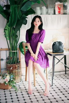 daily 2019 feminine& classy look Korean Fashion Dress, Asian Fashion, Fashion Dresses, Korean Beauty Girls, Asian Beauty, Pink Party Dresses, Cute Dresses, 70s Fashion, Vintage Fashion