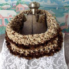 Handmade Crochet Cowl Pullover Scarf Brown by WildHeartYarnings
