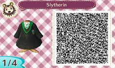 SLYTHERIN HOGWARTS ROBE. HARRY POTTER. ANIMAL CROSSING NEW LEAF. QR CODE. ACNL. PINNED BY Stephy Sama